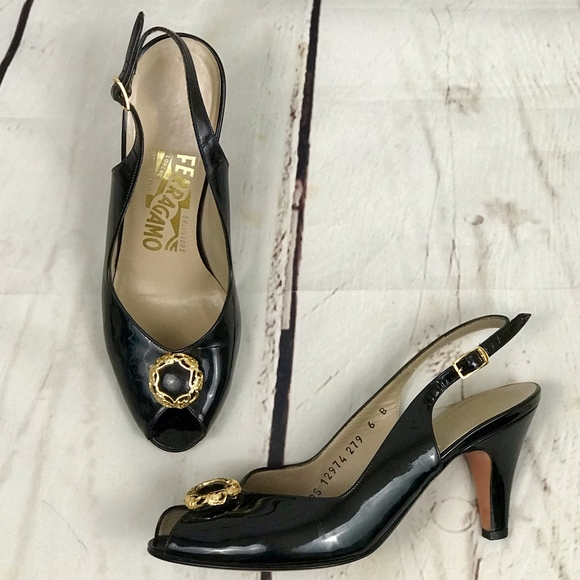 5edd8ed0f35cf Ferragamo   Vintage Black Patent Slingback Heels